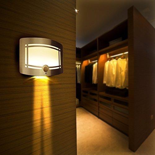 Intsun® LED Wireless Wandleuchte mit Bewegungsmelder/batteriebetriebene, drahtlose LED Nachtleuchte mit Bewegungsensor, automatische Wandleuchte, kabellose batteriebetriebene LED Nachtleuchte mit Bewegungsmelder , LED Aluminium Kabellos Leuchten, Lampen, Licht Bewegungssensor Wandleuchte für Badezimmer, Flur, Schlafzimmer, Studierzimmer - Indoor Nachtlicht