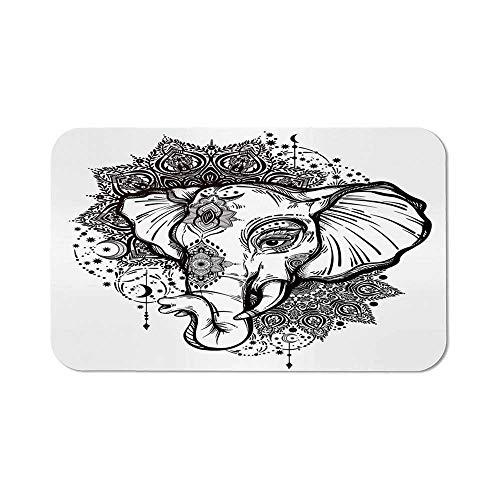Elephant Mandala Non Slip Mouse Pad,Grunge Modern Design Animal Head Seven Royal Symbols Guardian Image for Laptop Computer & PC,11.81''Wx27.56''Lx0.08''H - Pc Wood Guardian