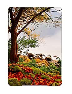 MtaZzKC268FXBHo Tpu Phone Case With Fashionable Look For Ipad Air - Autumn Lake Trees Landscape Case For Christmas Day's Gift