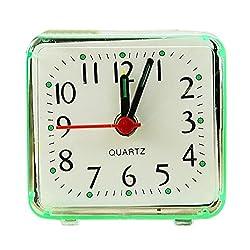 Alarm Clock, Oldeagle Cute Portable Silent Wake Up Bell Small Bed Compact Travel Quartz Beep Alarm Clock (Green)