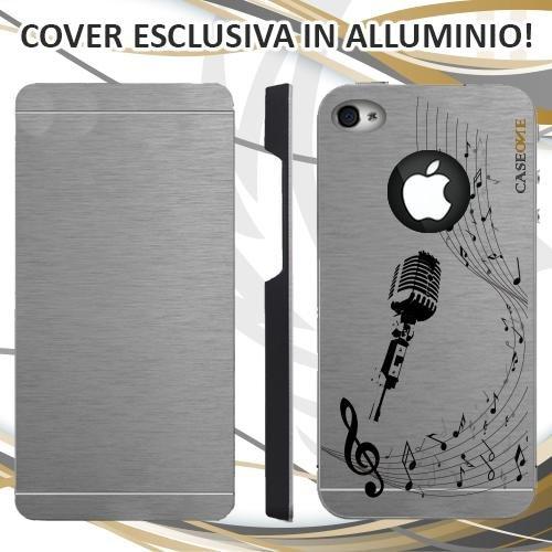 CUSTODIA COVER CASE MICROFONO MUSICA NOTA PER IPHONE 4S ALLUMINIO TRASPARENTE