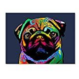 This ready to hang, gallery-wrapped art piece features a colorful portrait of a Pug. Art and design were always Michael's favorite subjects at school. He was fortunate to land a job as a graphic designer at one of London's most prestigious pu...
