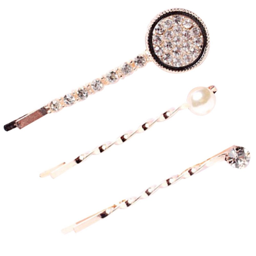 Refaxi 3Pcs/Set Fashion Women Crystal Pearl Hair Pin Barrette Bradal Bobby Hairpin Clip jm-2ggp-o2wh