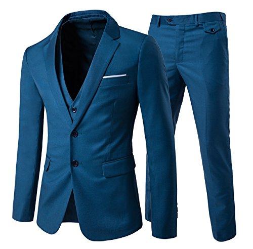 Men's Modern Fit 3-Piece Suit Blazer Jacket Tux Vest & Trousers Blue 2 X-Large (Blue 2 Coat)