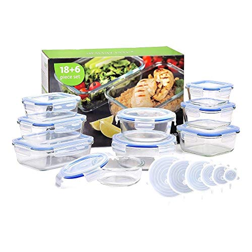 Healthy Prep Glass Tupperware Set 24 Pieces Glass Meal Prep Containers Airtight, Glass Food Storage Containers, Glass Containers Tupperware Set - BPA Free with Stretch Silicone Lids -