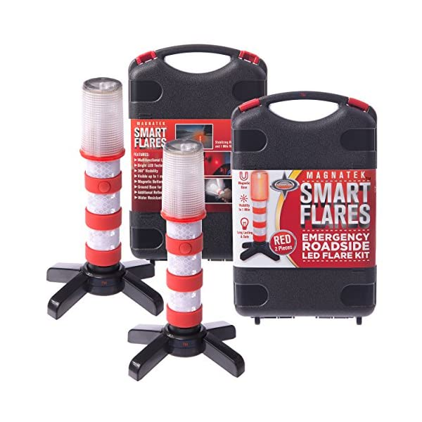 Red LED Emergency Roadside Flares   Magnetic Base And Upright Stand   These Magnatek Red LED Beacons May Save Your Life   Our Road Flares Come With Batteries And Solid Storage Case.