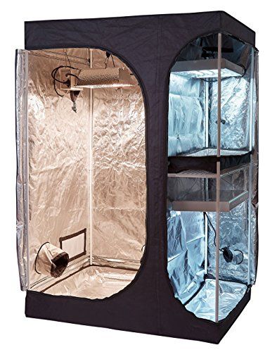 TopoLite 36″x24″x53″48″x36″x72″ 2-in-1 Indoor Grow Tent Room Propagation and Flower 600D Reflective Diamond Mylar Hydroponic Growing Plant w/ Metal Corner (36″X24″X53″ Lodge Propagation Tent 2-in-1) For Sale