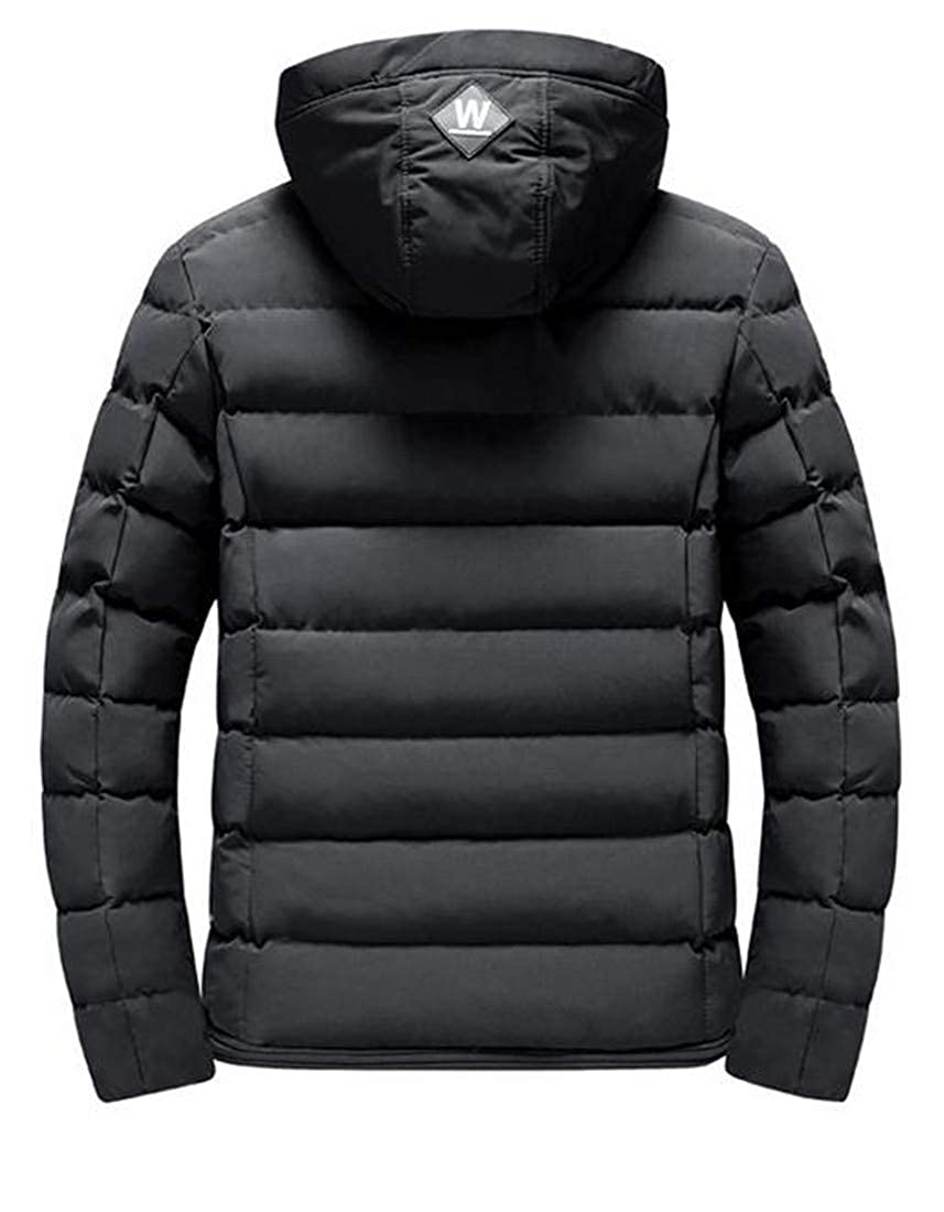 Pandapang Men Thick Quilted Winter Hooded Down Coat Parka Jacket Outwear