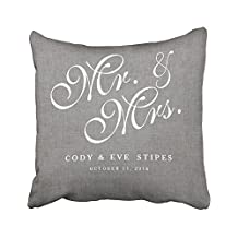 Sneeepee Decorative Pillowcases Vintage Gray Linen Initials Mr Mrs Wedding 18X18 Inches Throw Pillow Covers Cases Home Decor Sofa Cushion Cover