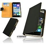 Premium Book Case Handytasche für Nokia Lumia 625 Schutzhülle Etui Wallet Cover Handyhülle Hülle Tasche mit Kartenfach und Magnetverschluss in Schwarz