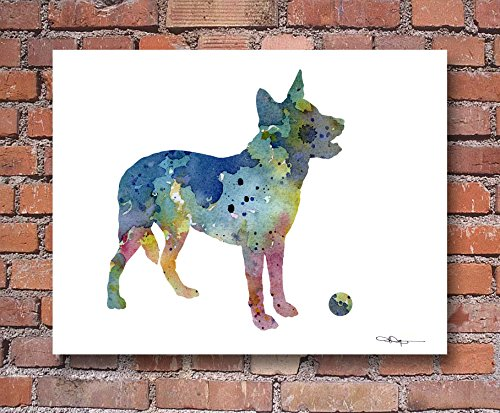 """Australian Cattle Dog"" Abstract Watercolor Art Print By Artist DJ Rogers"