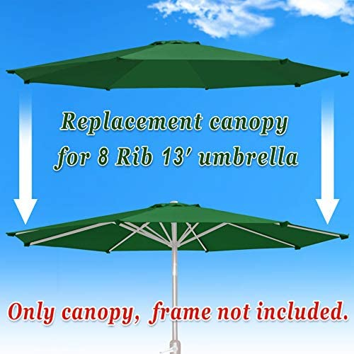 Strong Camel Replacement Patio Umbrella Canopy Cover for 13ft 8 Ribs Umbrella Taupe Canopy ONLY Green
