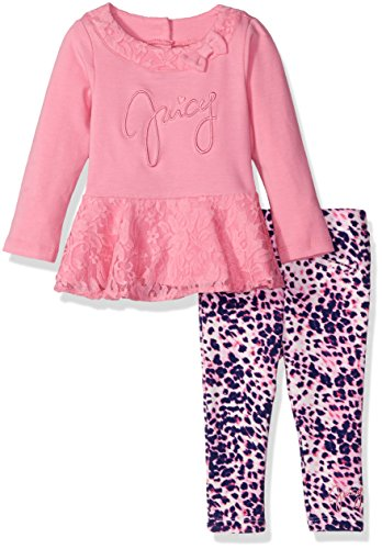 Juicy Couture Cotton Tunic (Juicy Couture Baby Girls' Tunic with Lace Accents and Printed Pant Set, Pink, 18)