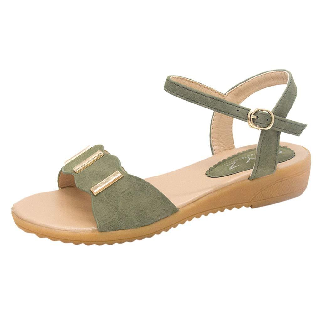 〓COOlCCI〓2019 New Women's Cute Open Toes One Band Ankle Strap Flexible Summer Flat Sandals Beach Green