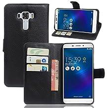 "Zenfone 3 Laser Case,Gift_Source [Card Slots] [Stand View] Premium Litchi Texture PU Leather Holster Magnetic Folio Flip Wallet Case Cover for Asus Zenfone 3 Laser ZC551KL 5.5""(not fit ZE552KL)[Black]"
