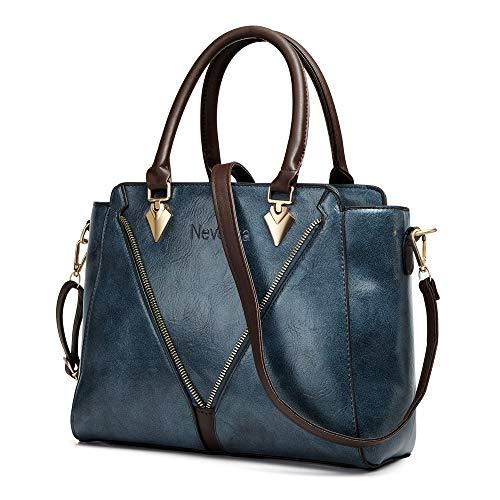 Handbags for Women Nevenka Women's Top Handle Purses and Handbags Fashionable Soft PU Leather Women's Shoulder handbags (Dark blue)