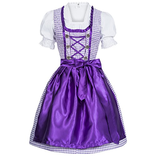 [Gaudi-leathers Women's Set-3 Dirndl Pieces Checkered 36 Purple/Withe] (Dirndl Costume)