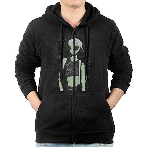 Alien I Want To Believe Boys' Black Long Sleeve Zipper Hoodie Outwear With Pocket ()