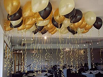 Themez Only Metallic Hd Party Balloons Gold White And Black