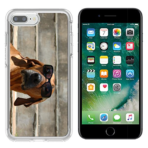 MSD Apple iPhone 7 plus/iPhone 8 plus Clear case Soft TPU Rubber Silicone Bumper Snap Cases iPhone7 plus/8 plus IMAGE 1905543 A beautiful and funny Rhodesian Ridgeback hound dog head - Sunglases Super