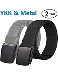 Men's Military Tactical Web Belt, Nylon Canvas Webbing YKK Plastic/Metal Buckle Belt