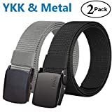 Fairwin Men's Military Tactical Web Belt, Nylon Canvas Webbing YKK Plastic/Metal Buckle Belt (Black + Grey, Custom up to 45'' waist)