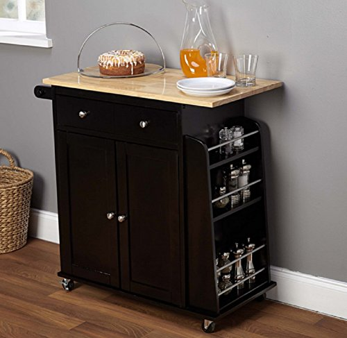Portable Kitchen Cart. Black and Natural Hardwood Cutting Board Work Surface Top, Towel Rack and Spice Shelf, Two Door Cabinet by Unknown