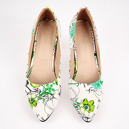 Charm Foot Womens Floral Print High Heel Pumps Shoes Green df0uiyQK
