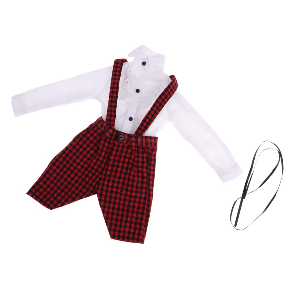 Suspender Trousers White Shirt for Night Lolita Dolls Clothes Accs Overalls