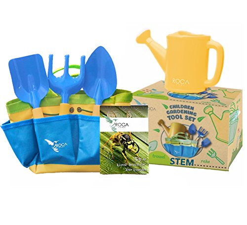 - Kids Garden Tools with STEM Learning Guide by ROCA Toys. Tote Bag, Watering Can, Shovel, Rake and Trowel – Summer Toys