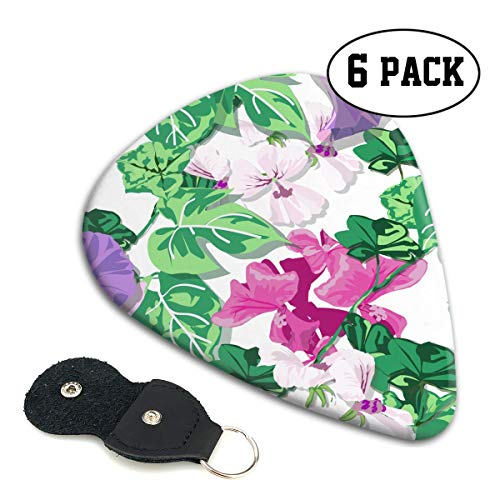 (BLDBZQ Flower Spring Morning Glory Geranium Celluloid Guitar Picks Premium Picks 6 Pack for Guitar,Mandolin,and Bass 0.46mm, 0.71mm, 0.96mm Optional with PU Leather Pick Holder)