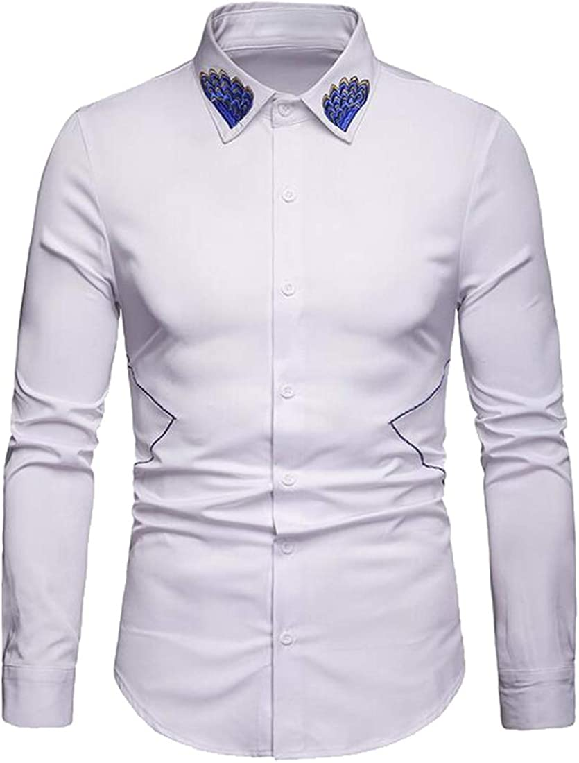 Domple Men Embroidery Business Casual Button Up Long Sleeve Dress Shirts