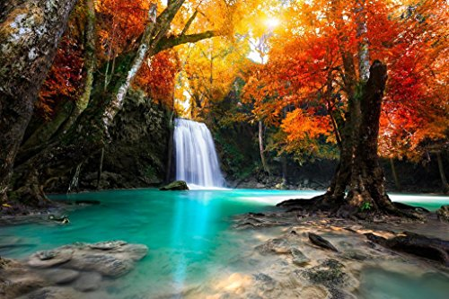 (Beautiful Waterfall Surrounded by Autumn Foliage Photo Art Print Poster 36x24 inch)