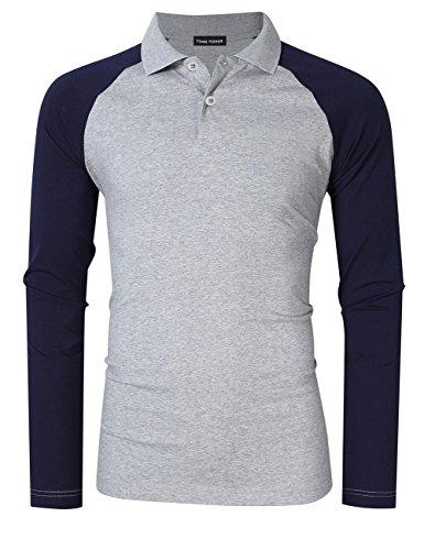 Navy Collar Polo T-shirt (Yong Horse Men's Casual Shirts Classic Fit 2 Button Raglan Long Sleeve Polo T-Shirts (M, Grey-Navy))