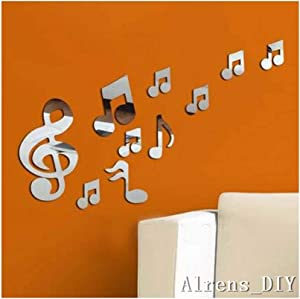 Alrens_DIY(TM) 10pcs Romantic Music Note Crystal Reflective DIY Mirror Effect 3D Wall Stickers Home Decoration Acrylic Mural Wall Sticker Decor