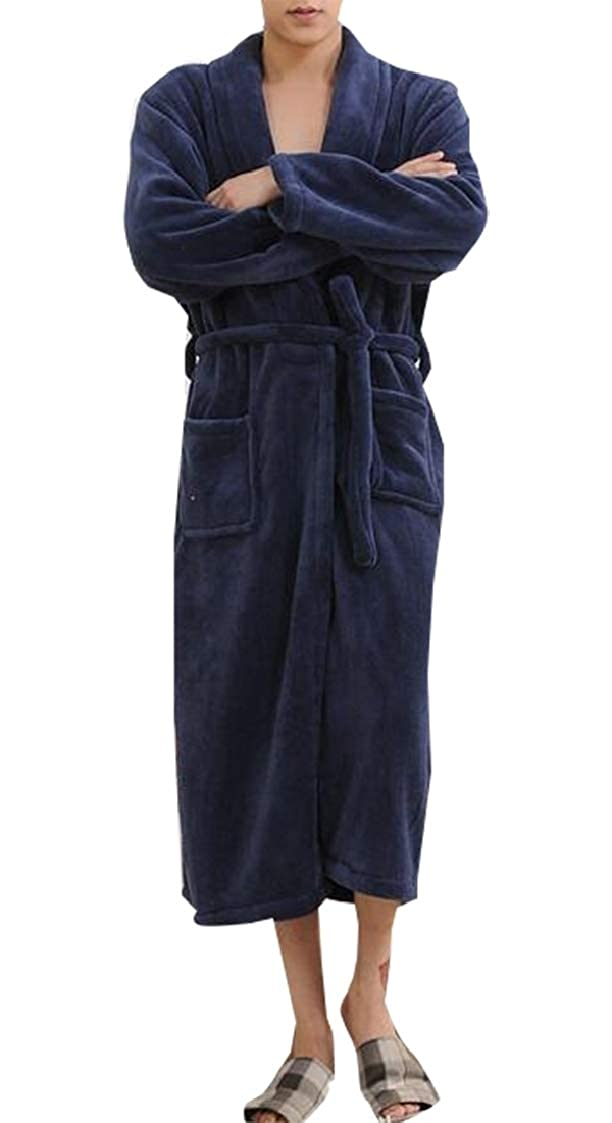 Jaycargogo Mens New Plus Size Shawl Collar Fleece Bathrobe Spa Robe