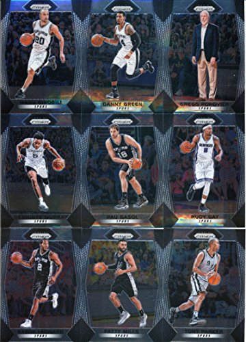 Basketball Team Set - 2017-18 Panini Prizm Basketball Complete San Antonio Spurs Team Set of 10 Cards which includes: Tony Parker(#291), Patty Mills(#292), Kawhi Leonard(#293), Dejounte Murray(#294), Pau Gasol(#295), Rudy Gay(#296), Manu Ginobili(#297), Derrick White(#298), Danny Green(#299), Gregg Popovich(#300)