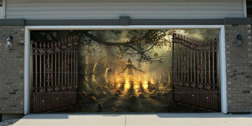 Re-Usable 3D Effect Garage Door Cover Billboard Sticker Decor Skin -Halloween - Sizes to fit your Garage.]()