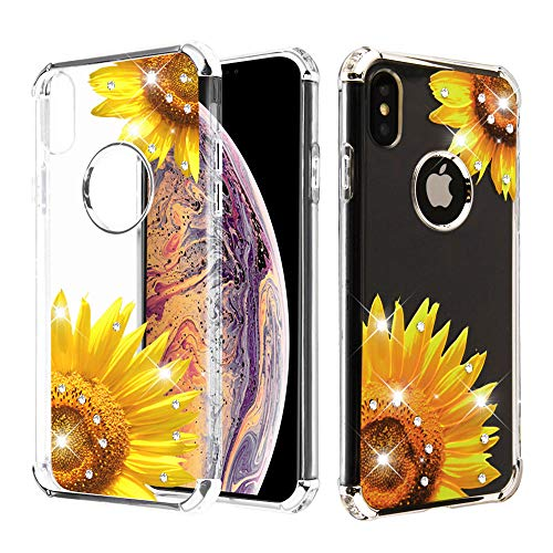 Case+Tempered_Glass+Stylus, Candy Skin Protector Cover Fits Apple iPhone Xs Max/XS Plus Electroplating Silver/Sunflower Stuffed Diamante/Artificial Diamond