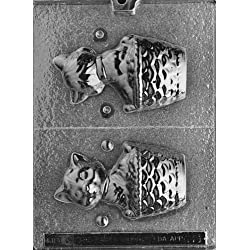 Cybrtrayd Life of the Party A021 3D Cat in a Basket Chocolate Candy Mold in Sealed Protective Poly Bag Imprinted with Copyrighted Cybrtrayd Molding Instructions