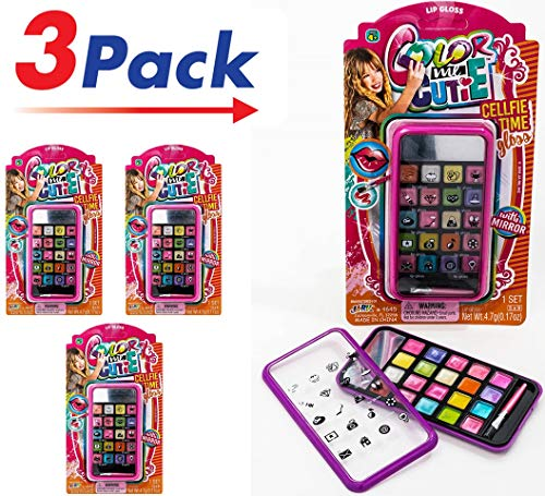 Color Me Cutie Makeup by JA-RU | Girls Toys Colorful Lip Gloss Pack of 3 | Item #464 ()