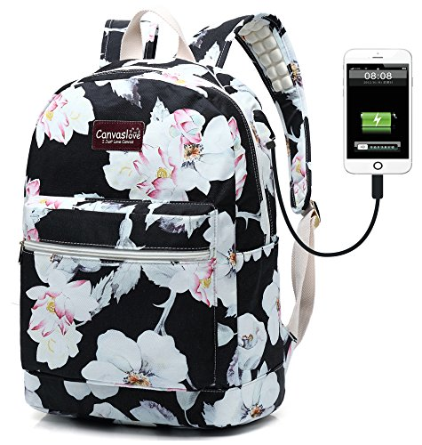 Canvaslove Canvas 15.6 inch Waterproof Laptop Backpack with USB Charging Port and Massage Cushion Straps for Laptop up to 15 inch Men Women Student Outdoor Travel Backpack (Lotus)