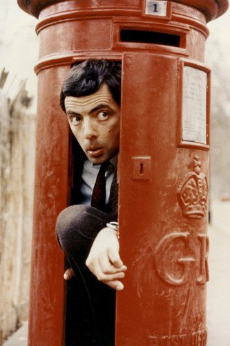 (Rowan Atkinson in Mr. Bean comedy classic Royal Mail box 24x36)