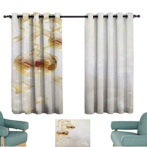 (Christmas,Window Curtain for Living Room Gold Color Xmas Balls with Swirled Ribbons and Stars Abstract Background 100