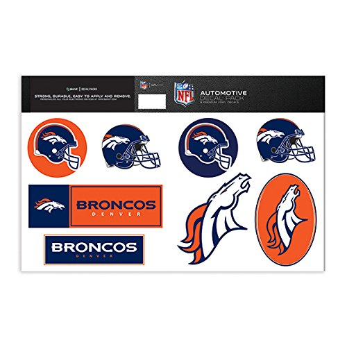 Skinit Denver Broncos Decal Packs - Officially Licensed by the NFL - 8 Premium 3M Vinyl Stickers