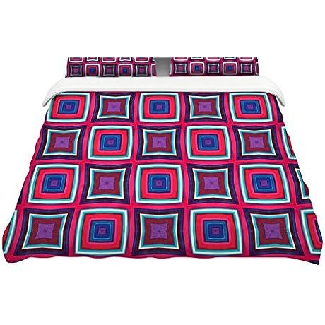 KESS InHouse Miranda Mol Watercolor Blocks Pink Black Checker Queen Featherweight Duvet Cover 88 X 88
