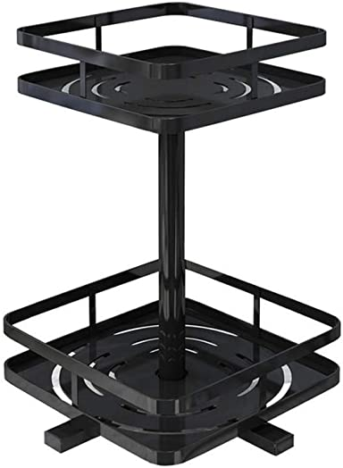 Metal Lazy Susan 2 Tier Spice Rack Turntable – 360 Rotating Spice Jars Seasoning Bottles Rack Tray, Cosmetic Organizer – Not Rust, Suitable for Kitchen Counter Cabinet Dining Table, Black