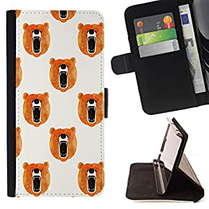 - Brown Bear Grizzly bears - - Style PU Leather Case Wallet Flip Stand Flap Closure Cover FOR Samsung Galaxy Note 4 IV - Devil Case -