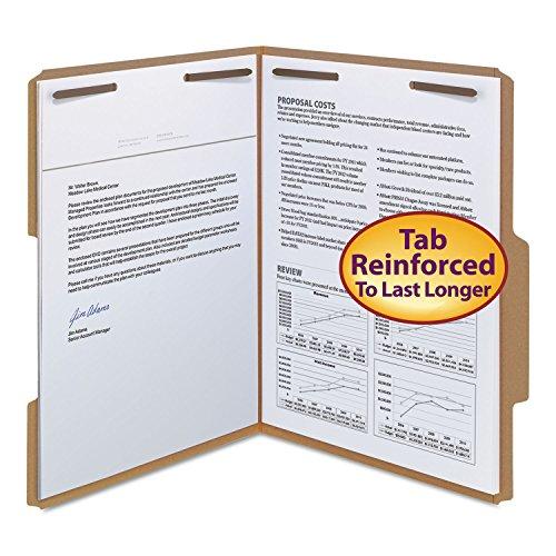 Smead 14880 11 Point Kraft Folders Two Fasteners 2/5 Cut Top Tab Letter Brown 50/Box
