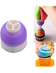 Villy CupCake Decorating Tool Swirl 3-Color Coupler Icing Piping Bag Nozzle Converter